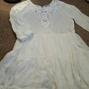 Free people white embroidered lace dress ruffle